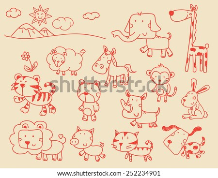 A set of cartoon wild animal illustrations - stock vector