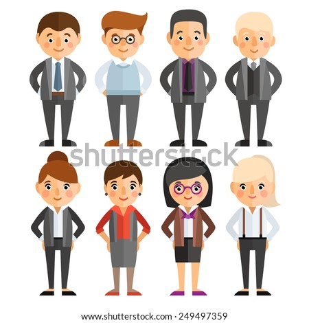 A set of characters in a flat style. Office workers. Women and men in business clothes.