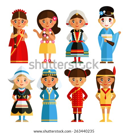 A set of characters in different national costumes in flat style. Cartoon girl in various costumes.  - stock vector