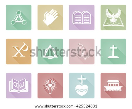 A set of Christian icons and symbols including praying hands, chi rho, ark and alpha omega - stock vector