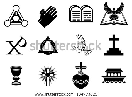 A set of Christianity icons and symbols, including dove, Chi Ro, praying hands, bible, trinity christogram, cross, communion goblet, ark and more