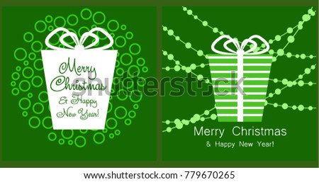 A set of Christmas and New Year greeting cards. New Year, gift box in green tones, greeting card. Vector illustration.