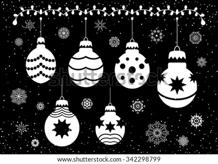 A set of Christmas balls, snowflakes and branch for decoration. - stock vector