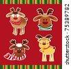 A set of Christmas Deer - stock vector
