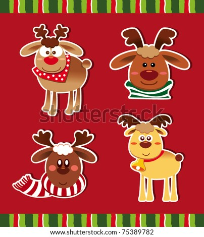 A set of Christmas Deer - stock vector