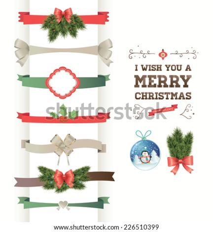 A set of Christmas design elements. - stock vector