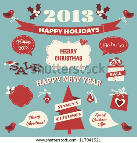 A set of Christmas design elements in blue , red and white. - stock vector