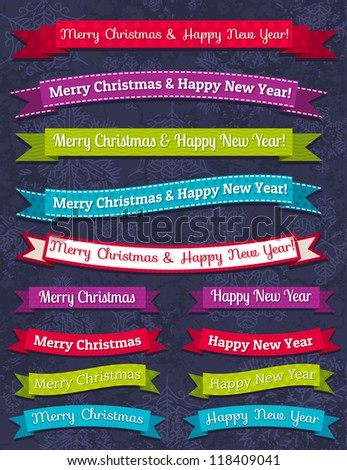 A set of Christmas design, vector illustration - stock vector