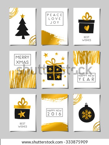A set of Christmas greeting card templates in black, white and gold. Modern abstract brush strokes and doodles combined with traditional Christmas elements - gifts boxes, Christmas tree and bauble. - stock vector