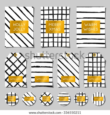 A set of Christmas greeting cards, gift tags and round stickers/tags/cake toppers. Abstract brush strokes and textures in black and white and traditional Christmas messages on gold foil. - stock vector