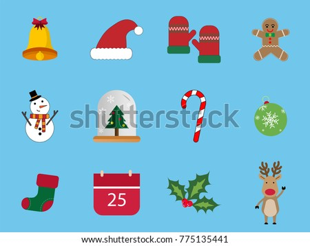 A set of 12 Christmas icon set. Christmas Day Icons Can be used in the advertising business to use.