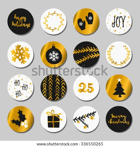 A set of Christmas round stickers/gift tags/cake toppers. Traditional Christmas design elements in black, white and gold.  - stock vector
