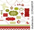 A set of Christmas scrapbook elements, vintage frames, ribbons, ornaments - stock vector