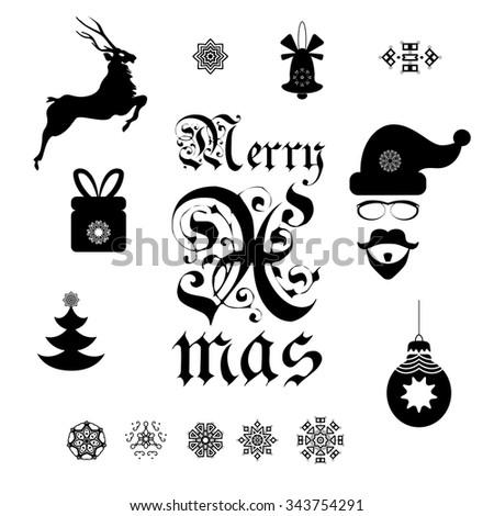 Set Christmas Symbols Greeting Cards Decoration Stock Vector
