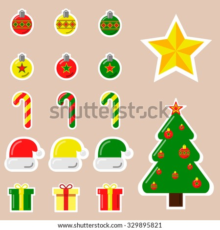 A set of Christmas vector icons