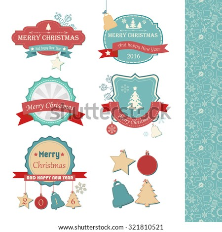 A set of Christmas vintage labels. Christmas tree, star and toy. Vector Illustration, eps 10, contains transparencies. - stock vector
