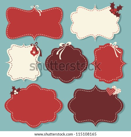 A set of Christmas vintage labels in red and white.