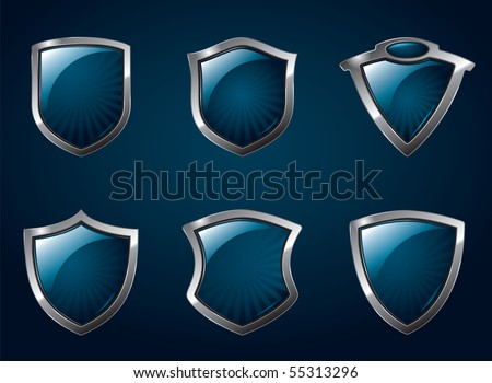 A set of chrome metallic mediavel shields. - stock vector