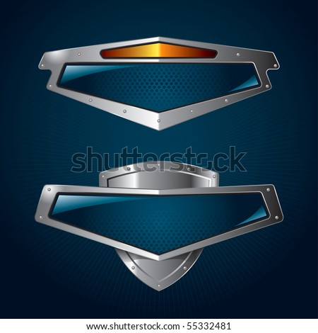 A set of chrome metallic shields for your branding templates.
