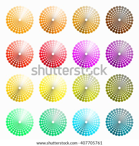 a set of circular colored orange, red. vector illustration