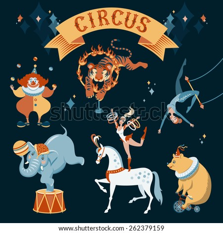 A set of circus characters. Vector illustration on dark background - stock vector