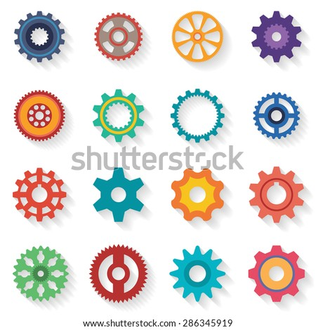 A set of cogwheels of different configurations and color in flat style. Shadows are grouped separately and can be easily removed. - stock vector