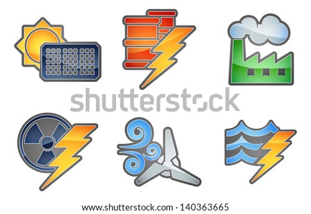 A set of color icons with relating to power and energy generation. Solar, fossil fuel, nuclear, wind, hydro or water and oil - stock vector