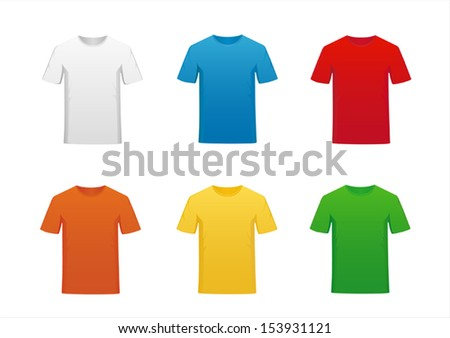 A set of color t-shirts isolated on white background