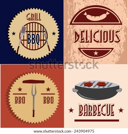 a set of colored backgrounds with text and different barbecue icons - stock vector