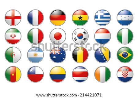 a set of colored flags into round icons on a white background