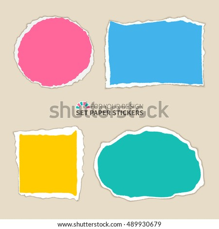 A set of colored paper scraps with teared edges.Torn paper banners with space for text.Design template for infographics, website layout.Vector realistic illustration.