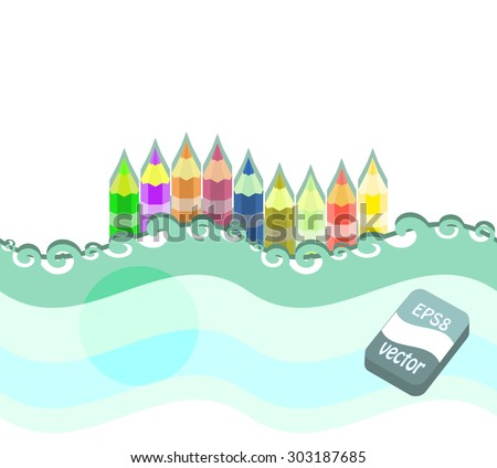 A set of colored pencils on a white background. Vector illustration. - stock vector