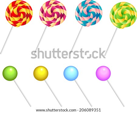 A set of colored realistic stick candy - stock vector