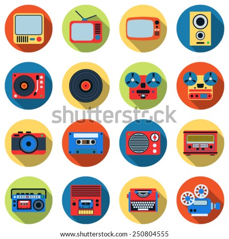 A set of colorful retro electronic icons. Flat design style web elements collection. - stock vector