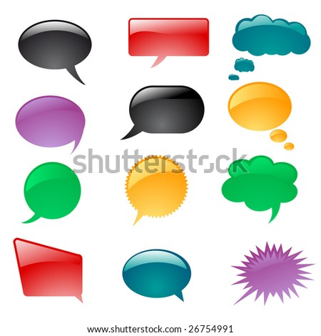 a set of colorful thought or speech bubbles - stock vector