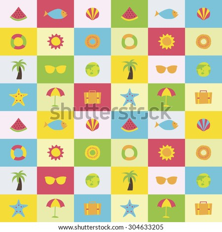 A set of colorful vector icons for vacation, background, pattern. water melon, fish, clam, shellfish, tube, sun, pine apple, palm tree, sunglasses, umbrella, earth, camera,
