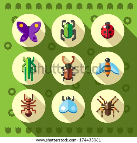 A set of colourful flat insect bug icons, including ladybird  - stock vector