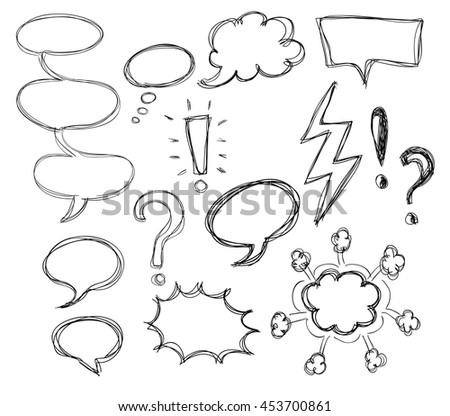 A set of comic bubbles and elements multicolored comic sound Doodle lines and curves vector.  - stock vector