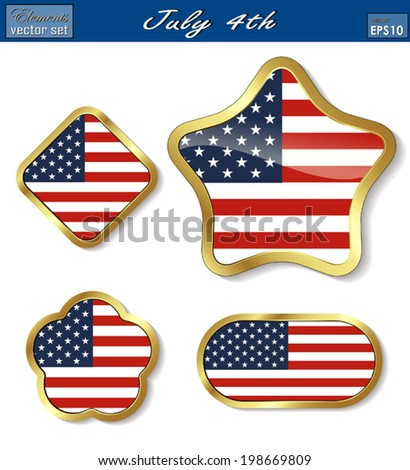 A SET of Creative Vector shields/ Label for July 4th Celebrations/ Independence day/ Memorial Day,  Useful elements for your layout design. Premium Quality, Genuine and Satisfaction, Easy to Edit.