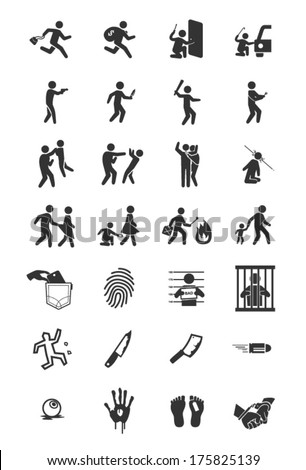A set of criminal icons in black and white. - stock vector