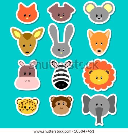 A set of cute animal faces - stock vector