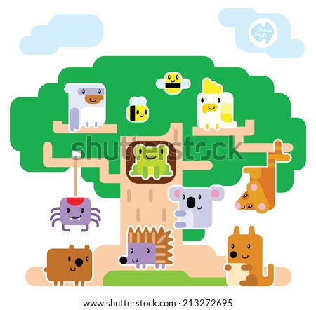 A set of cute Australian animals living in a Moreton Bay fig tree house.  - stock vector