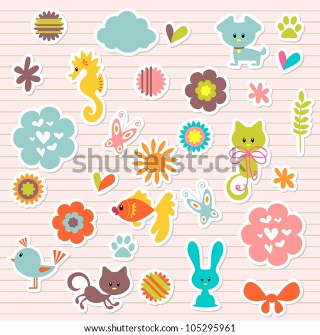 A set of cute babyish stickers - stock vector