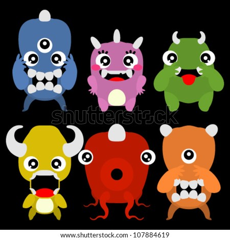 A set of cute cartoon monsters - stock vector