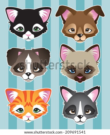 A set of 6 cute dog and cat cartoon faces. - stock vector