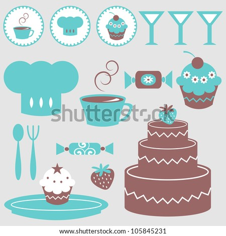 A set of cute elements food and drink - stock vector
