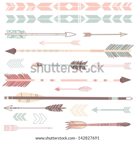 A set of cute hipster arrows, hand drawn doodles - stock vector