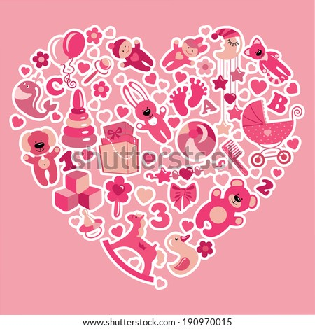 A set of cute items of toys for new born baby-girl in the heart form.Pink colors.Vector design elements. - stock vector
