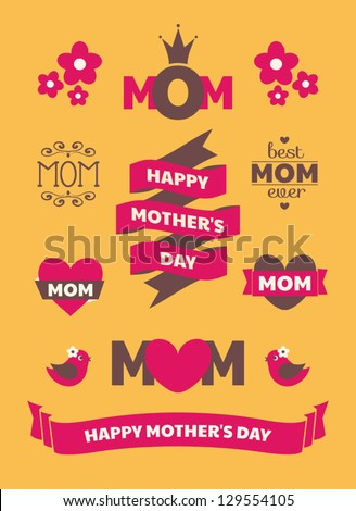 A set of cute Mother's Day design elements. - stock vector