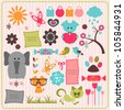 A set of cute scrapbook elements with animals - stock vector